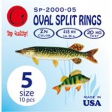 Заводные кольца Oval Split Rings Zn #5 (dia 8X4 mm, 20 kg test)