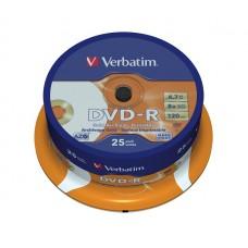 VERBATIM DVD-R 4,7Gb 8x Cake 25 pc Archival Printable 43634