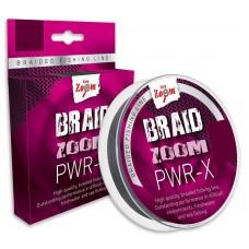 Braid Zoom PWR-X braided  line (grey), 0,12, 9,1kg, 120m   (Экстра сильный,серый)